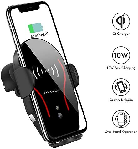 Wireless Car Charger, VIKASI 10W Qi Fast Charging Car Phone Holder, Air Vent Automatic Clamping Car Charger Mount Compatible with Samsung Galaxy Note 9 8 S9 S8,iPhone Xs Max XR X 8 8 Plus Black-Red