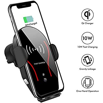 Wireless Car Charger, VIKASI 10W Qi Fast Charging Car Phone Holder, Air Vent Automatic Clamping Car Charger Mount Compatible with Samsung Galaxy Note ...