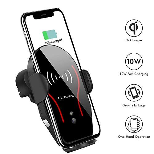 (Wireless Car Charger, Difini 10W Qi Fast Charging Car Charger Mount, Air Vent Automatic Clamping Car Phone Holder Compatible with Samsung Galaxy Note 9/8/ S9/ S8,iPhone Xs Max/XR/X 8/8 Plus)