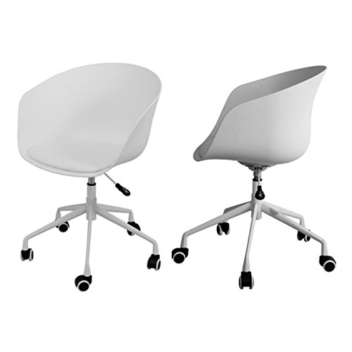 Modern Office Chair Height Adjustable Seat 360 Degree Swivel Sturdy Chrome Steel Legs Solid Polypropylene Thermoplastic Durable Upholstered PU Leather - Set of 2 White #1519 (Pa Lancaster Furniture Cheap)