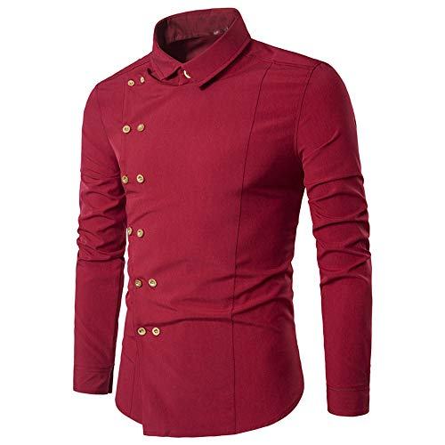 ZYEE Clearance Sale! Men Blouse Fashion Personality Men's Casual Slim Long-Sleeved Shirt Top Blouse