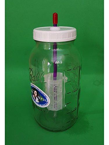 Kefir Fermenter (1.5l/50oz) with Enlarged Container for Kefir Grains by Kefir Fermenter