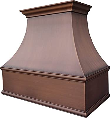 Stove Vent Hood 660 CFM H7 302127S Copper Range Hood with Smooth Texture, Antique Copper Finish 30 inch