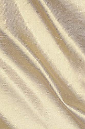 Beige Gold Metallic Shantung Silk Fabric