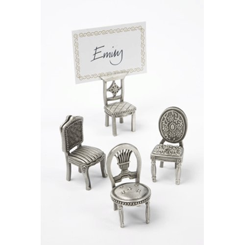 Lindsay Interiors Pewter Chair Place Card Holders, Set of Four