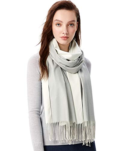 MaaMgci Womens Mens Two Tone Scarf Cashmere Feel Pashmina Shawls Wraps Blanket Scarf Winter Stole, Pale Teal and Cream