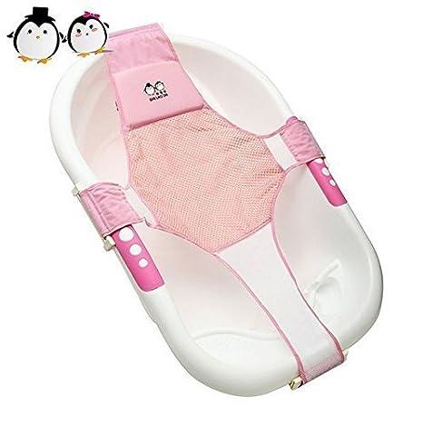 middeleton Baby de baño Asiento ajustable bañera apoyo bebé algodón sombreado cama baño bebé baño Net Baden Grid (Azul) rosa Rosa