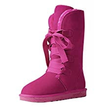 Chickle Women's Lace Up Mid Calf Snow Boots