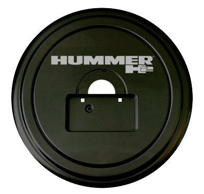Hummer H2 Rigid Tire Cover - Hummer H2 Logo - (Hard Plastic Face & Fabric Vinyl Band) - Fits 2005-2010 Models & Factory Spare Tire Mounted License Plate ()