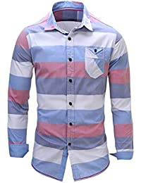 Mens Casual Slim Fit Check Shirts, Roll Up Long Sleeve,Office Shirts for Men