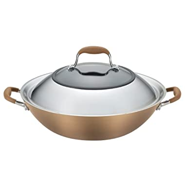 Anolon Advanced Bronze Hard-Anodized Nonstick 14-Inch Covered Wok, Bronze
