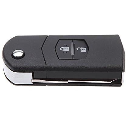 TOOGOO Caja de llave R Negro Reemplazo 2 botones Entrada sin llave Mando a distancia de llave Llavero de control remoto para MAZDA 3 5 6
