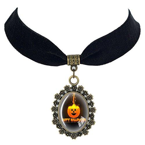 (Paialco Halloween Oval Glass Pendant Black Ribbon Necklace, Pumpkin)