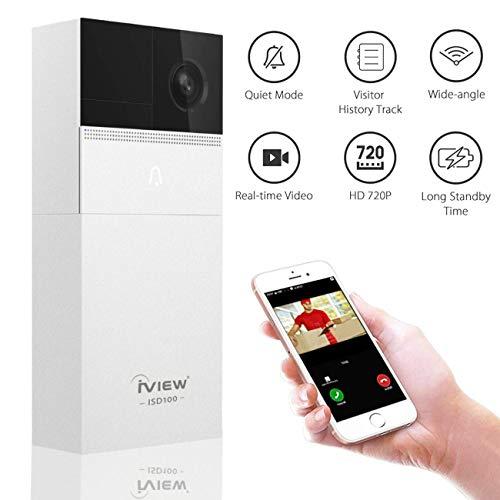 Smart Video Doorbell Wireless Control with WiFi, iView ISD100 Door Bell  Smart Home 720P HD Surveillance Security Camera with Audio & Video, PIR  Motion