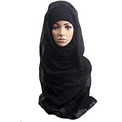 CHUANGLI Full Cover Islamic Scarf Women Comfortable Muslim Ramadan Hijab Long Scarf (Black)