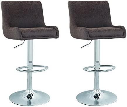 Asense Contemporary Cozy Adjustable Bar Counter Stools, Set of TWO, 360 degree rotation Dark Brown