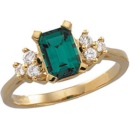 1/6 CTTW Chatham Created Emerald and Diamond Ring in 14k Yellow Gold ( Size 6 )