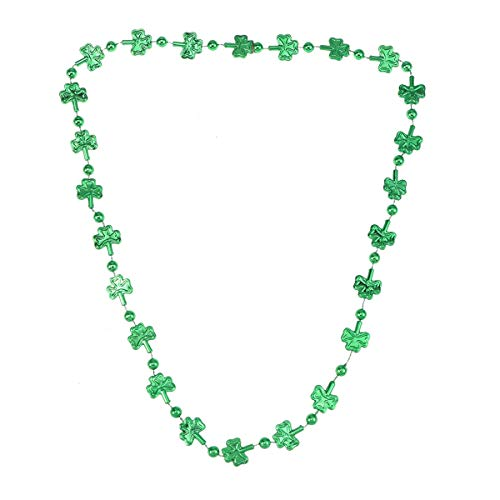 Amosfun 2pcs St Patrick's Day Necklace Shamrock Beaded Necklace Irish Party Favor Costume ()