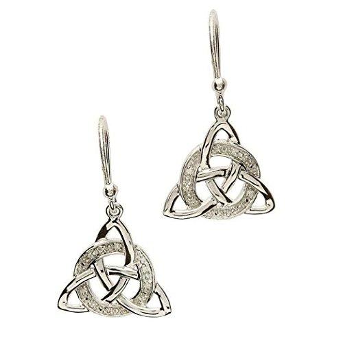 Celtic Diamond Set - Shanore Celtic Trinity Knot Diamond Set Earrings in the Gift Box