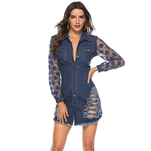 Sunmoot Sexy Denim Dresses for Womens Lace Patchwork Long Sleeve Button Party Cocktail Club Shirt Mini Bodycon Dress Navy -