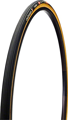Bike Open Tubular Clincher Tire - Challenge Strada Open Tubular Clincher Road Bicycle Tire (Black/Tan - 700 x 25)