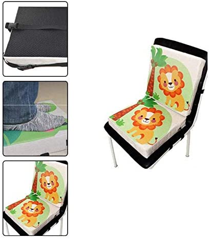 Fablcrew Coussin de Si/ège Portable B/éb/é Rehausseur Chaise Enfant B/éb/é Nouveau Coton et Lin Lion Imprim/é avec Sangles R/églables