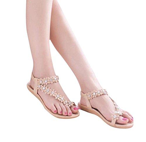 Femmes Flip Chaussures Bohême Sandales Kaki plates Fleur Eté Perles OVERMAL Flop dqSwYd