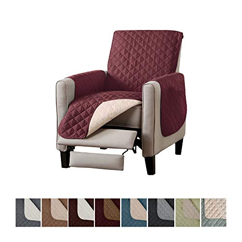 Home Fashion Designs Deluxe Reversible Quilted Furniture Protector. Perfect for Families with Pets and Kids. (Recliner, Oxblood Red)
