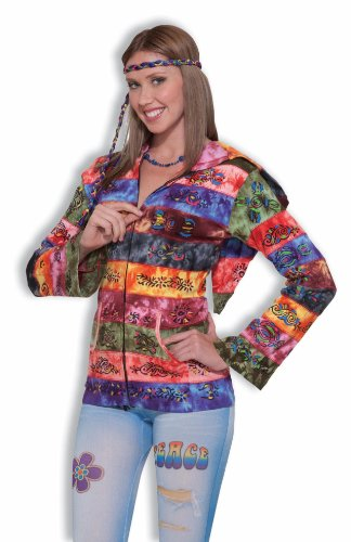 Hippie Costume Hooded Rainbow Jacket - Womens Std.