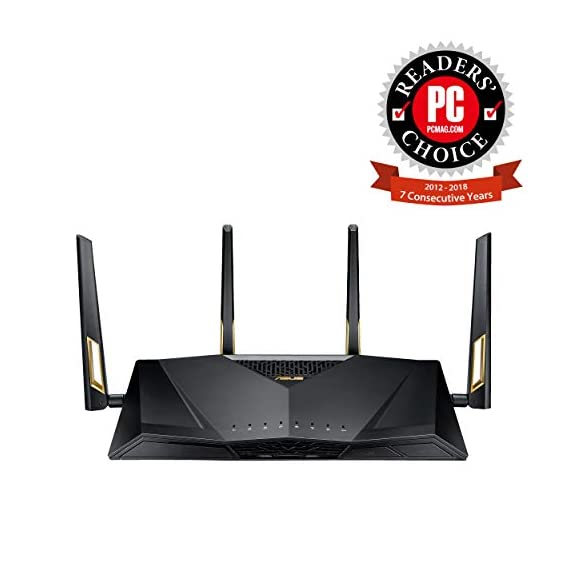 ASUS RT-AX88U AX6000 Dual-Band WiFi Router, Aiprotection Lifetime Security by Trend Micro, Aimesh Compatible for Mesh WiFi System, Next-Gen WiFi 6, Wireless 802.11Ax, 8 X Gigabit LAN Ports 3 Next-gen Wi-Fi standard - 802.11Ax Wi-Fi standard for better efficiency and throughput. Ultrafast Wi-Fi speed - 6000 Mbps Wi-Fi speed to handle even the busiest network with ease. Wider usage and more convenience - 4 antennas + 8 LAN ports to support more clients at the same time.