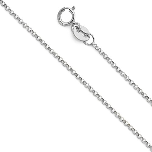 Wellingsale 14k White Gold SOLID 1.2mm Polished Classic Rolo Cable Chain Necklace with Spring Ring Clasp - - Chain Rolo Classic
