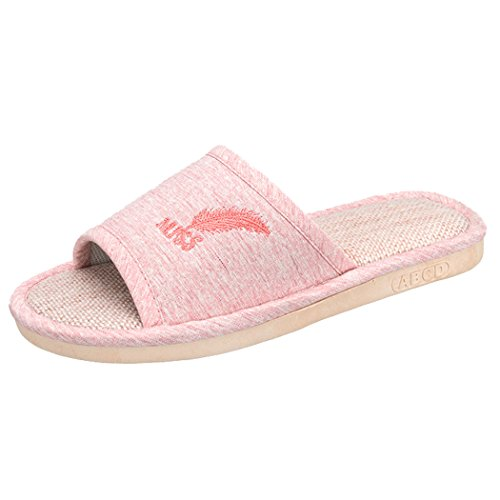 Lino Mujer Cuatro Rosado Para Zapatos Speedeve Hombre Bordado Slippers Interior Zapatillas Casa Estaciones De pq6wzIf