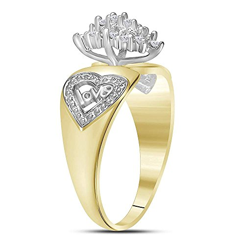 10kt Two-tone Yellow Gold Womens Round Diamond Oval Cluster Love Heart Ring 1/8 Cttw by Jewels By Lux (Image #2)