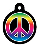 Peace Love And Rainbows 2- Pet ID Tag, 2 Sided, 4 Lines Custom Personalized Text Available