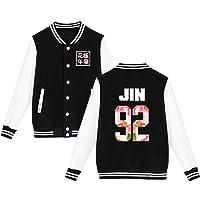 BTS Béisbol Chaqueta de Uniforme Chicos Bangtan Suga Jin Jimin Jung Kook Suéter Abrigo 3XL Negro JIN