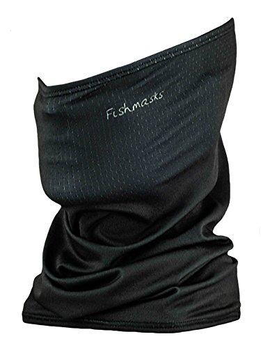 Fishmasks Single Layer Neck Gaiter - Lightweight, Fishing Protection From Sun, Wind And Moisture - Made In USA - UPF 50+ Moisture-Wicking Fabric - Black (Balaclava Wind)