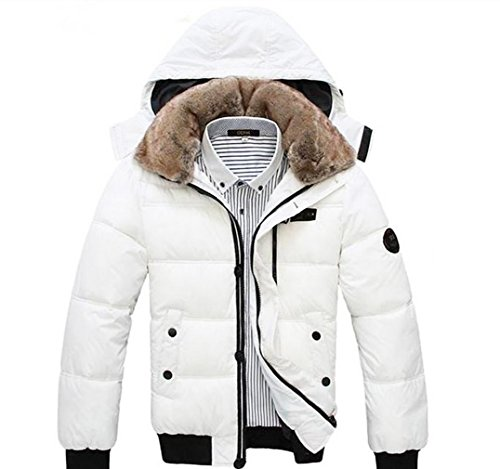 The One Men's Stylish Padded Thick Removable Hooded Winter Coat Plush Collar CO05, White (Hooded Silk Coat)