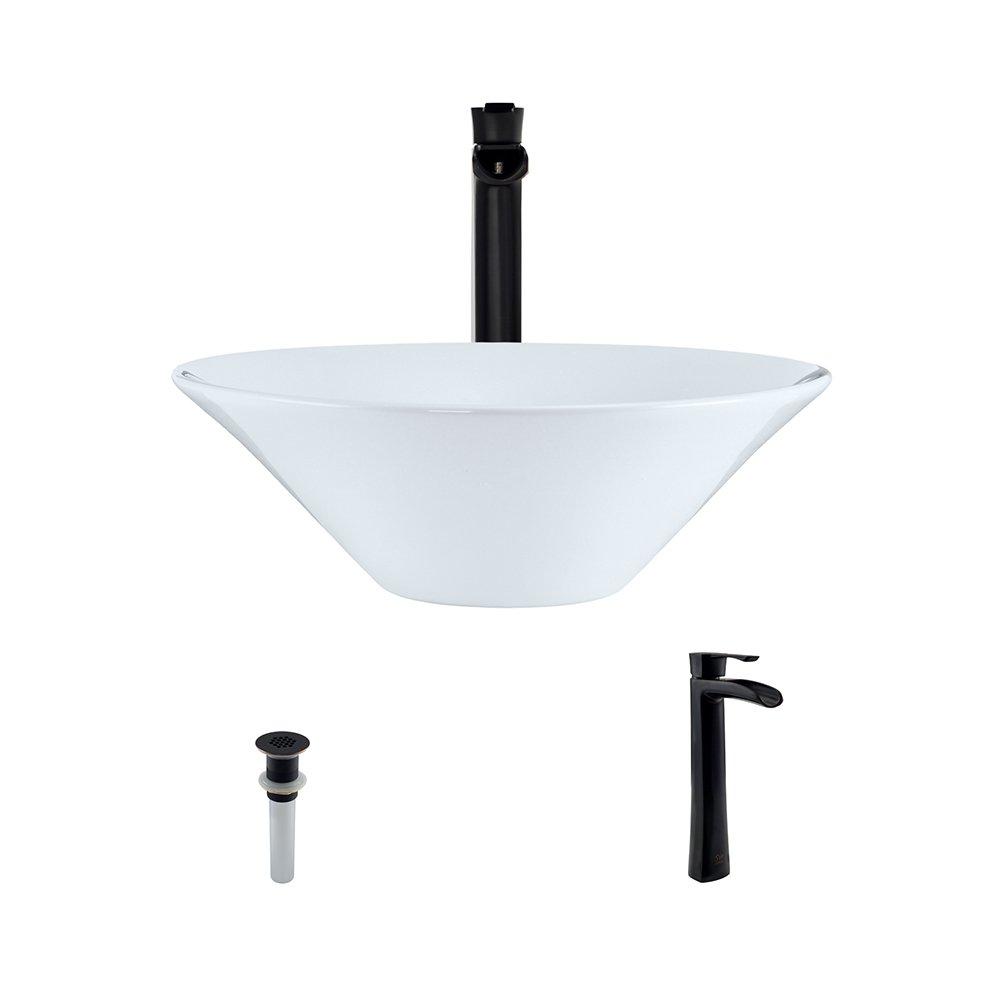 V220-White Porcelain Vessel Sink Antique Bronze Ensemble with 731 Vessel Faucet Bundle – 3 Items Sink, Faucet, and Pop Up Drain