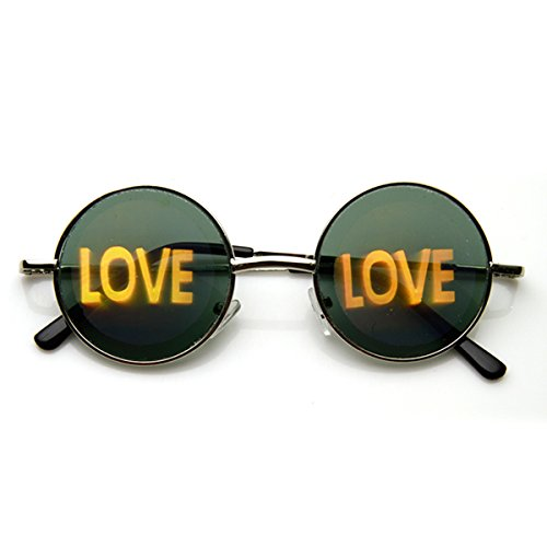 zeroUV - Hologram Holographic Illusion Poker Face Metal Round Sunglasses (Love - Round Images Sunglasses For Face Of