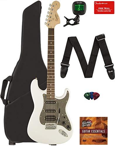 (Fender Squier Affinity Series Stratocaster HSS Guitar - Laurel Fingerboard, Olympic White Bundle with Gig Bag, Tuner, Strap, Picks, and Austin Bazaar Instructional DVD)