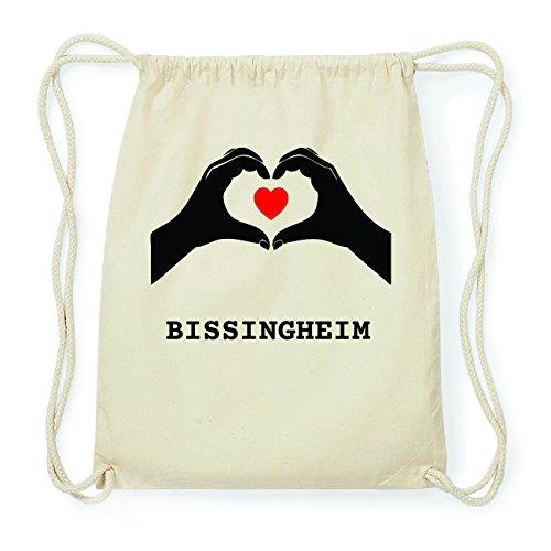 JOllify BISSINGHEIM Hipster Turnbeutel Tasche Rucksack aus Baumwolle - Farbe: natur Design: Hände Herz