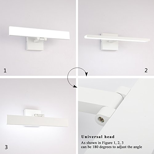 ECOBRT Bathroom Vanity Lamp White Finished LED 16W Make Up Mirror Light Cabinet Mirror Light Picture Lights Cool White 6000K Wall Mounted Vanity Lighting Fixture by ECOBRT (Image #4)
