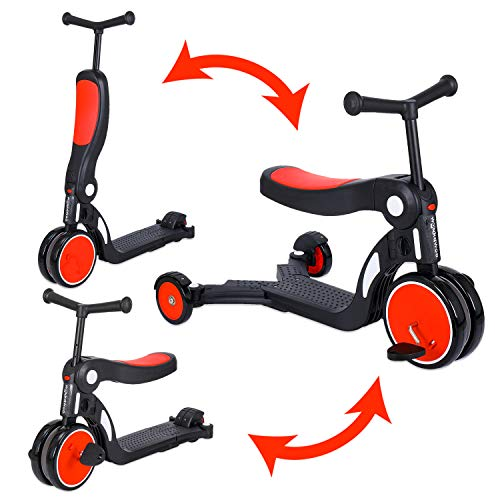 WONKAWOO Tri-Scoot Scooter 3-in-1 Tricycle/Scooter/Balance Bike Sleek Design with Foldable Seat for Kids & Toddlers Boys & Girls for 3-8 Years Old