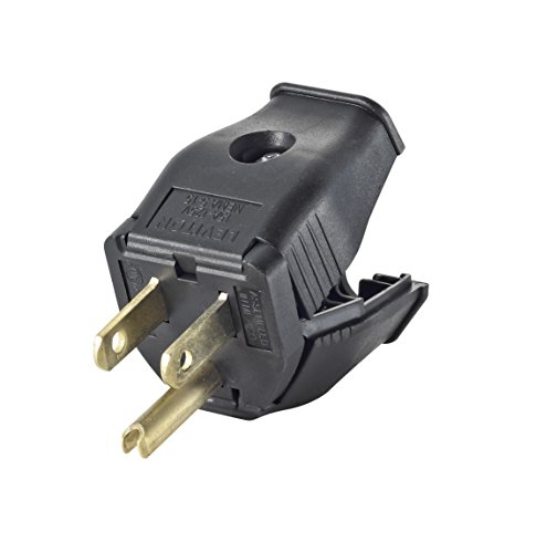 Replacement Plug - Leviton 3W101-E 2-Pole 3-Wire Grounding Plug, Black