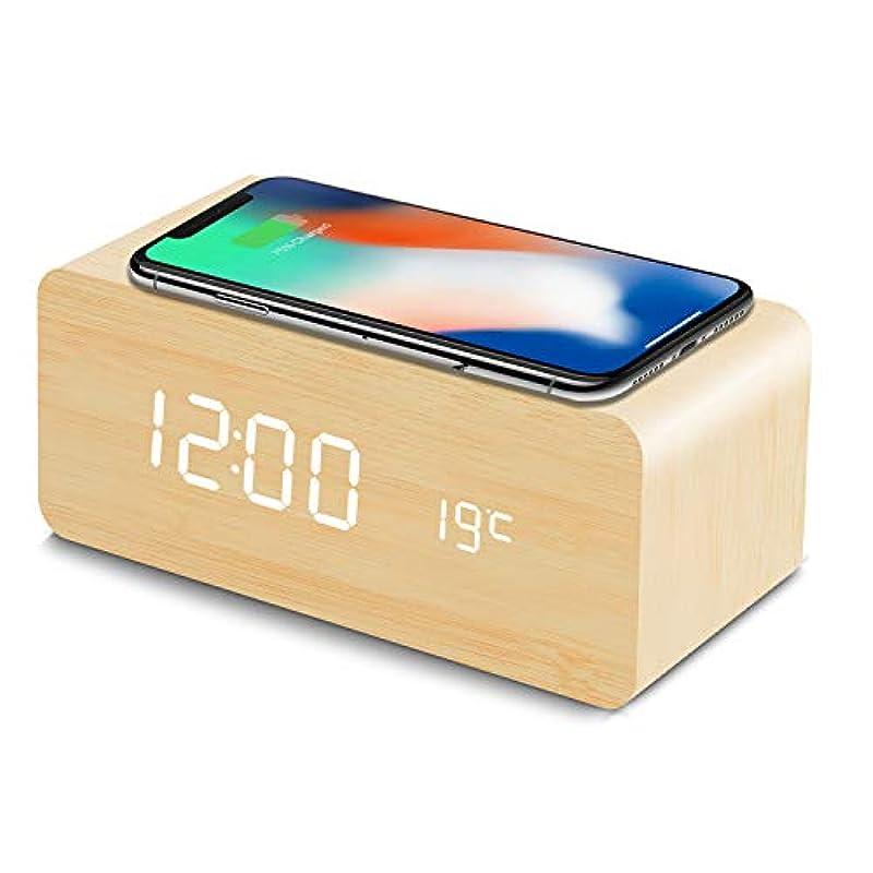 탁상시계 QIwireless 충전 기능 자명종 알람 clock USB급전 android iphone 충전기 iPhone8이상 대응 음성 감지 Fomobest 캘린더 부착 온도계 시간 기억 에너지 절약 밝기 조절 일본어 설명서 부착 (브라운)