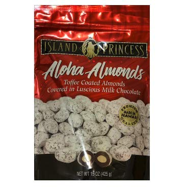 Aloha Almonds Toffee Coasted Almonds Covered in Luscious Milk Chocolate - Large 15OZ (425g), 2 PACK