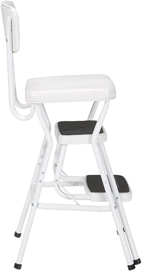 capacity step stool to help reach those high areas COSCO 11118WHTE White Retro Counter Chair//Step Stool with Pull-out Steps Counter height chair provides extra seating when needed or use the 200 lb