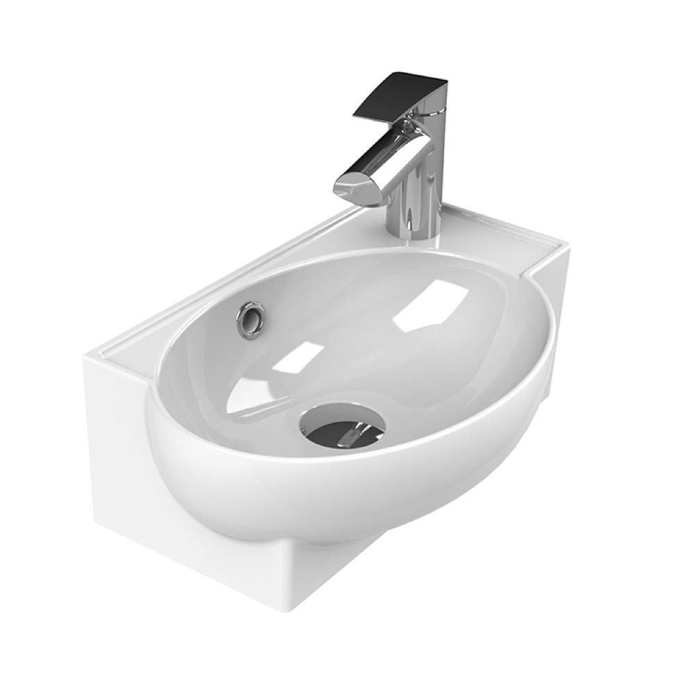 CeraStyle 001300-U-One Hole Mini Curved Corner Ceramic Wall Mounted Vessel Sink, White