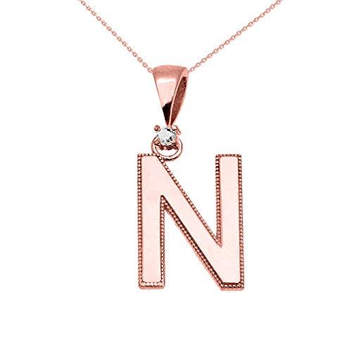 """Collier Femme Pendentif 14 Ct Or Rose Poli Élevé Milgrain Solitaire Diamant """"N"""" Initiale (Livré avec une 45cm Chaîne)"""
