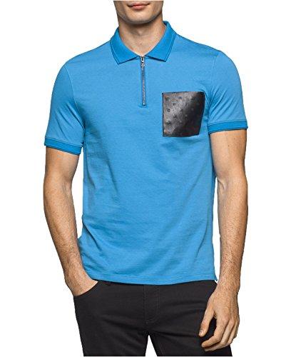 Calvin Klein Men's Quarter-Zip Polo With Faux Leather Pocket (XL, Mediterranian - Shipping Polo Free